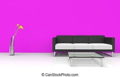rosa, vivente, stanza moderna