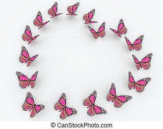 rosa, vlinders, freigestellt, weiß, hintergrund