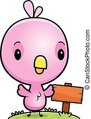 rosa, vogel, holz, baby, zeichen, karikatur