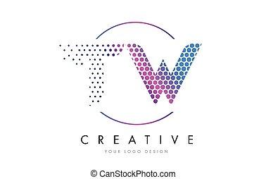 rosa, w, punteado, tw, vector, diseño, t, carta, logotipo, magenta, burbuja