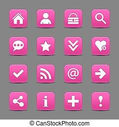rosa, web, bottone, segno, fondamentale, raso bianco, icona