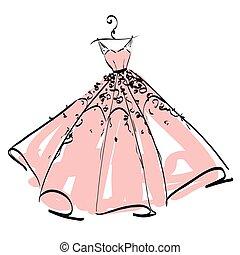 rosa, weißes, kleiden, design, wedding