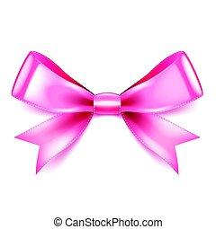 rosa, weißes, vektor, freigestellt, schleife