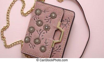rosa, weibliche , frauen, luxus, hintergrund., tasche, ...