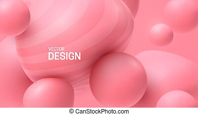rosa, weich, sprudeln gummi, formen, spheres., glatt