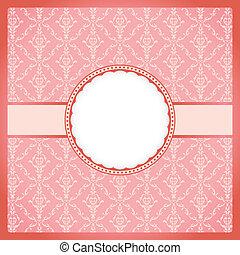 rosa, weinlese, rahmen, runder