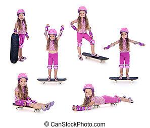 rosa, wenig, skateboard, m�dchen