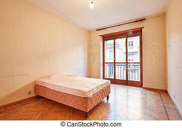 rosa, wohnung, decke, inneneinrichtung, altes , bett, schalfzimmer