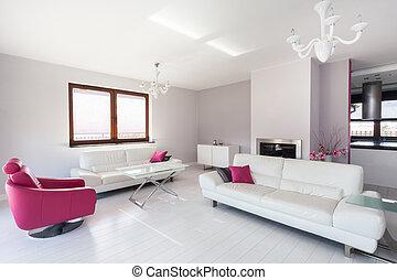 rosa, wohnzimmer, beschwingt, -, hütte, weißes