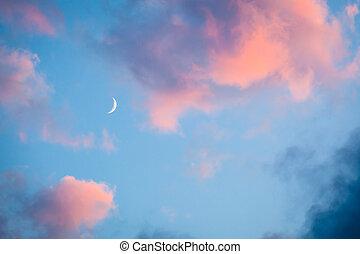rosa, wolkenhimmel, und, mond, himmel