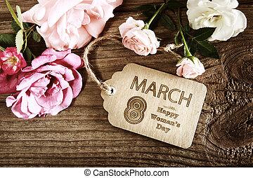rosa, womans, rústico, rosas, mensaje, día