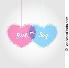 rosa, y azul, fiesta de nacimiento, en, forma, corazones