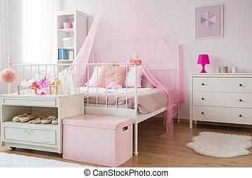 rosa, y, blanco, princesa, dormitorio