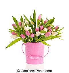 rosa, y, blanco, tulipanes, en, cubo