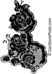rosa, y, mariposa, encaje, patrón