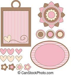 rosa, y, marrón, vector, etiquetas, flores