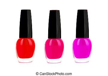 rosa y rojo, nailpolish, aislado, blanco, plano de fondo