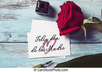 rosa, y, texto, feliz, día madres, en, español