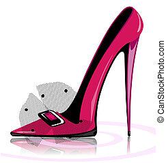 rosa, zapato