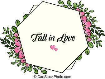 rosafarbene blume, frame., liebe, vektor, design, herbst, muster, karte
