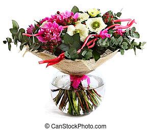rosafarbene blume, hintergrund., blumengebinde, vase., ...
