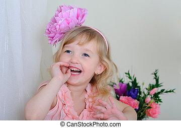 rosafarbene blume, sie, haar, z�hne, laughin, m�dchen, kleiden, nett