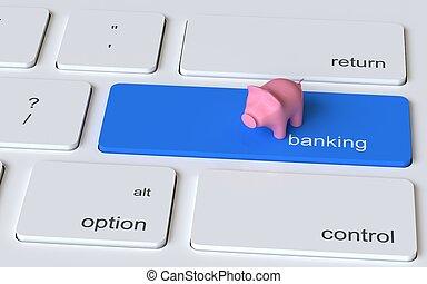 rosafarbene piggy bank, auf, der, edv, keyboard., online-bankwesen, concept., 3d, abbildung