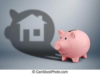 rosafarbene piggy bank, mit, schatten, als, daheim, spareinlagen, für, haus, finanz, begriff