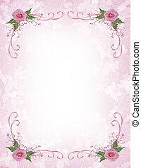 rosafarbene rosen, einladung, umrandungen