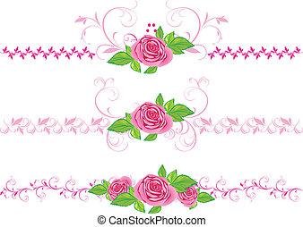 rosafarbene rosen, mit, verzierung