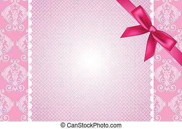 rosafarbener hintergrund, mit, spitze, und, schleife