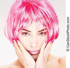 rosafarbenes haar, frau, hübsch