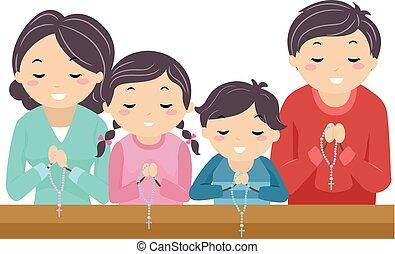 rosaire, église, stickman, famille, prier, illustration