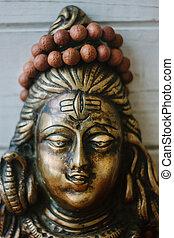 rosaire, hindou, -, rudraksha, shiva, dieu, head.