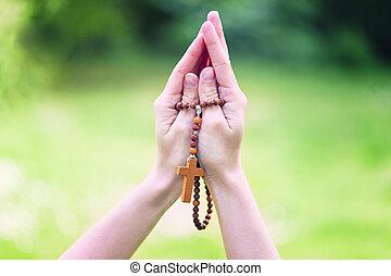 rosario, concepto, manos, religioso