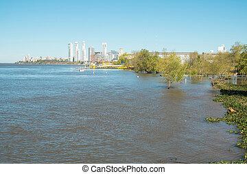 Rosario on the bank of Parana river, Argentina