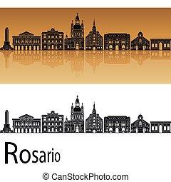 Rosario skyline in orange background in editable vector file