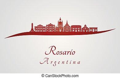 Rosario skyline in red