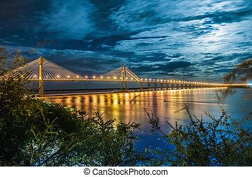 Rosario-Victoria Bridge across the Parana River, Argentina...