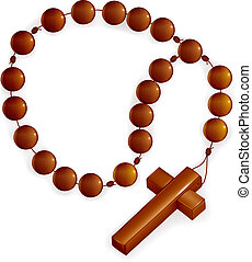 Rosary and Cross, vector