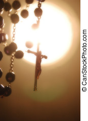 Rosary Backlighting in Mystical Atmosphere