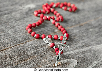 Rosary beads close up