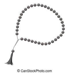 Rosary icon, gray monochrome style - Rosary icon. Gray...