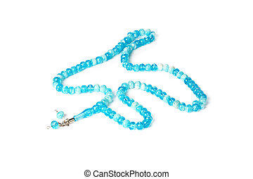 Rosary Isolated on white background. Creative photo.