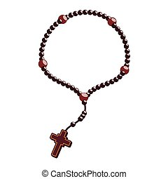 rosary nacklace cross religion icon. Vector graphic - rosary...
