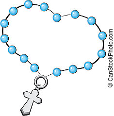Rosary with a cross. Icon. Vector object on white background.