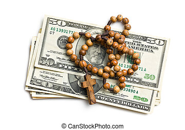 rosary with american dollars on white background