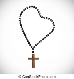 Rosary with black pearls with a wooden cross - Catholic...