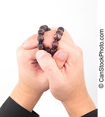 rosary with hands