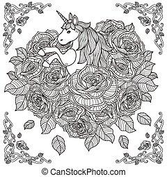 rosas, adorável, fundo, unicórnio
